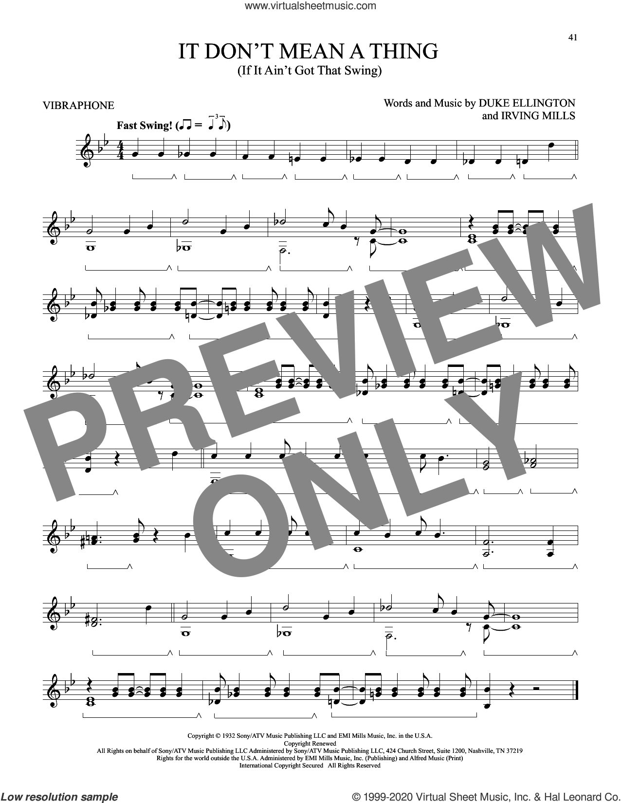It Don't Mean A Thing (If It Ain't Got That Swing) sheet music for Vibraphone Solo by Duke Ellington and Irving Mills, intermediate skill level