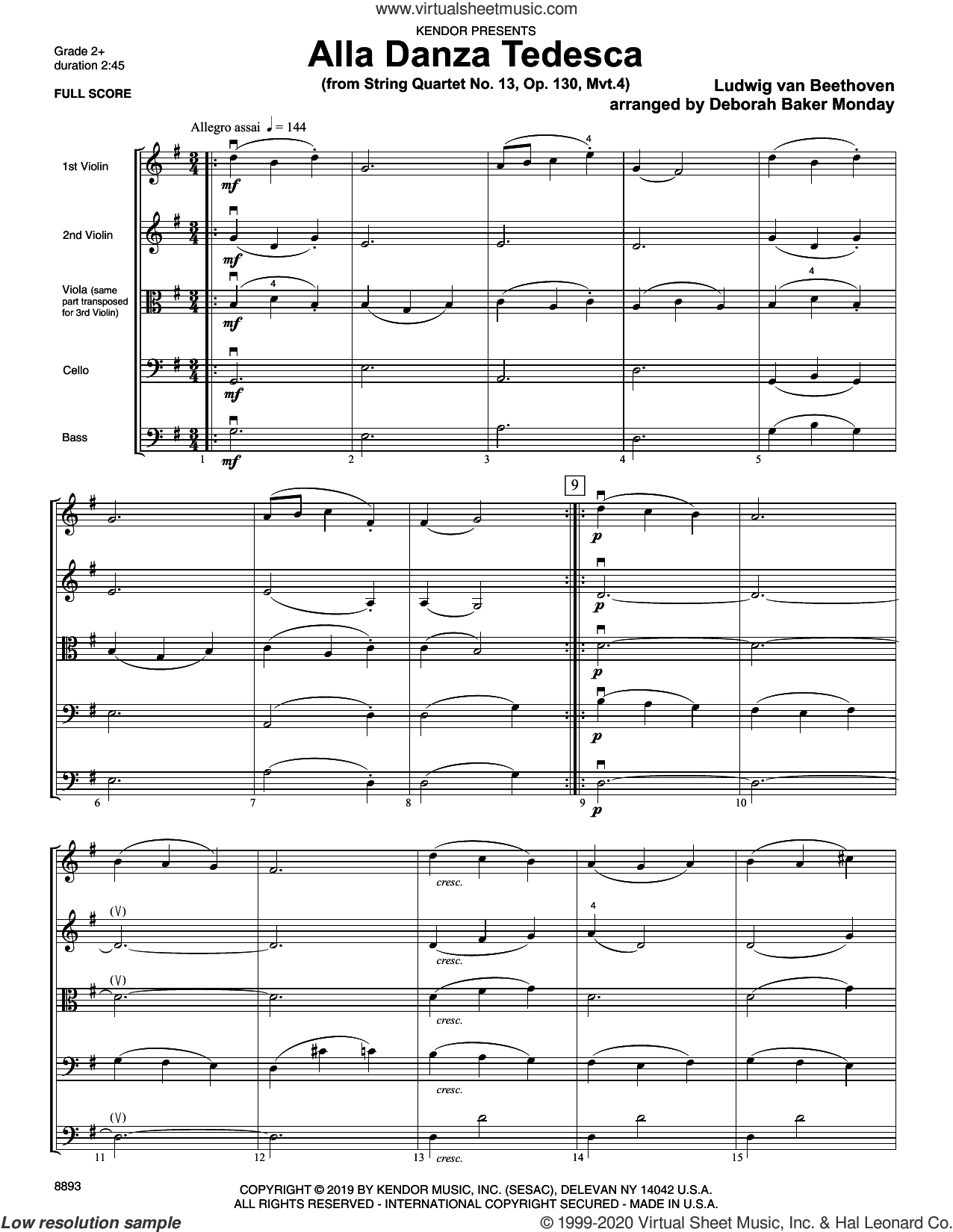 Alla Danza Tedesca (from String Quartet No. 13, Op. 130, Mvt. 4) (COMPLETE) sheet music for orchestra by Ludwig van Beethoven and Deborah Baker Monday, classical score, intermediate skill level