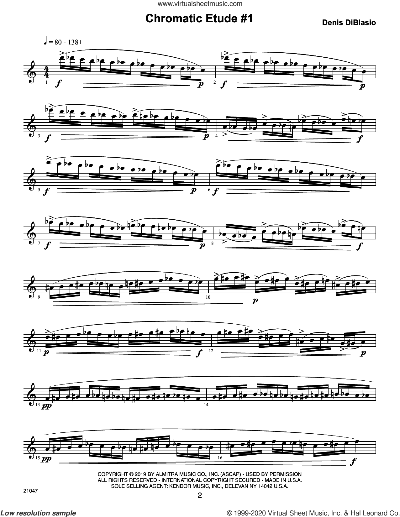 Chromatic Etudes And Sound Patterns For Saxophone sheet music for alto saxophone by Denis DiBlasio, classical score, intermediate skill level