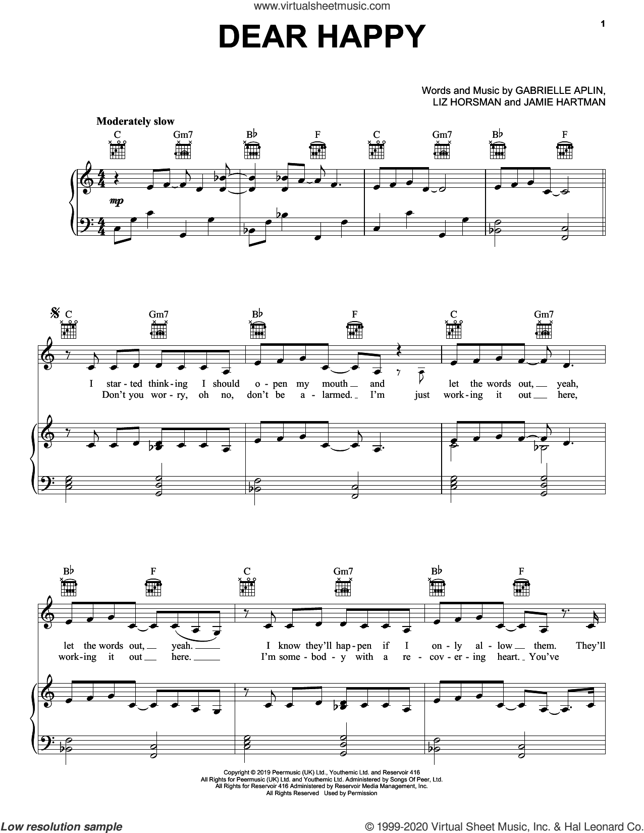 Dear Happy sheet music for voice, piano or guitar by Gabrielle Aplin, Jamie Hartman, Liz Horsman and Michael Spencer, intermediate skill level