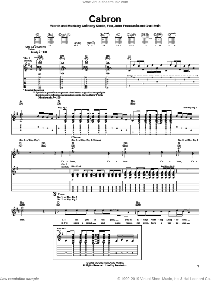 Cabron sheet music for guitar (tablature) by Red Hot Chili Peppers, intermediate. Score Image Preview.