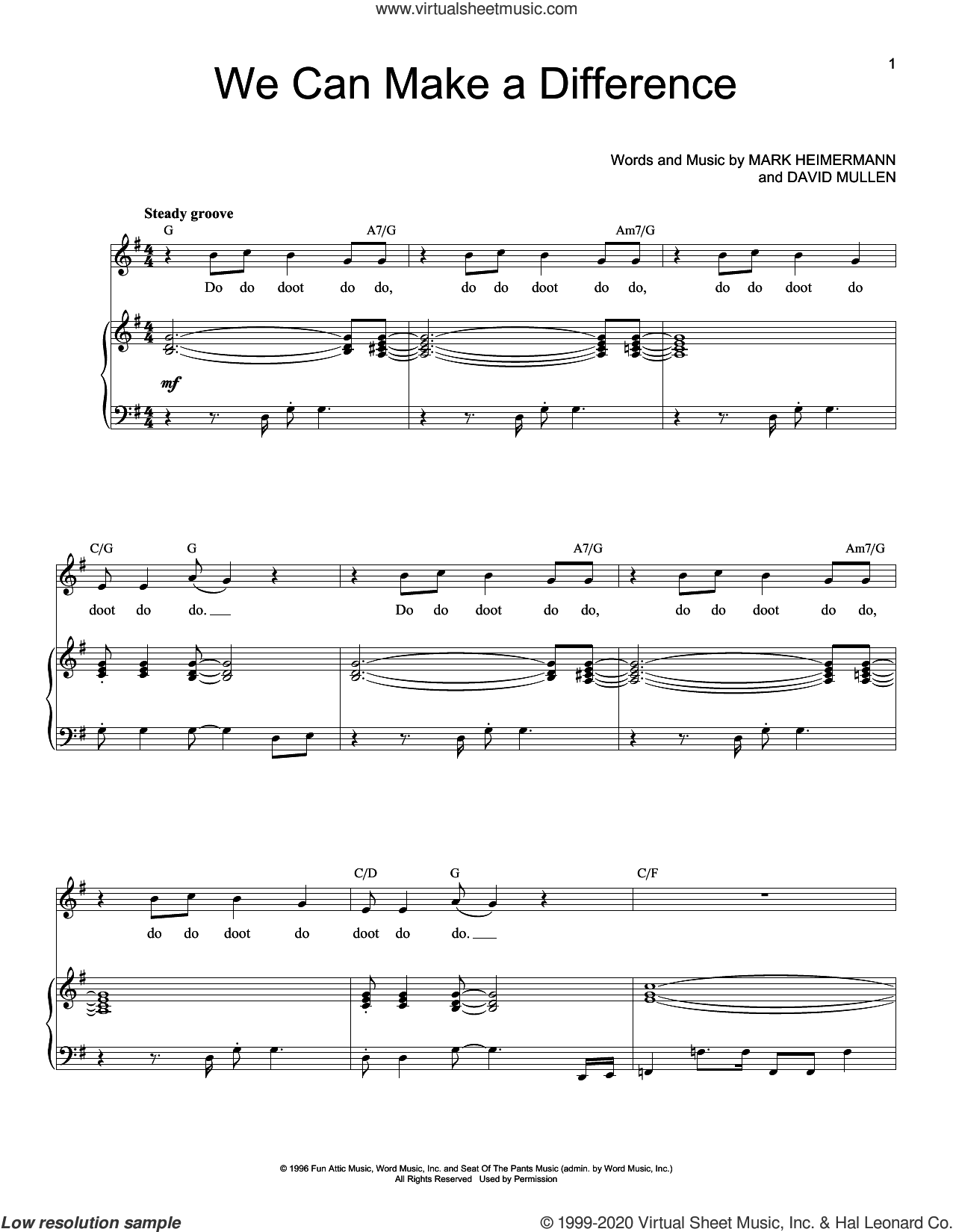 We Can Make A Difference sheet music for voice and piano (High Voice) by Jaci Velasquez, David Mullen and Mark Heimermann, intermediate skill level