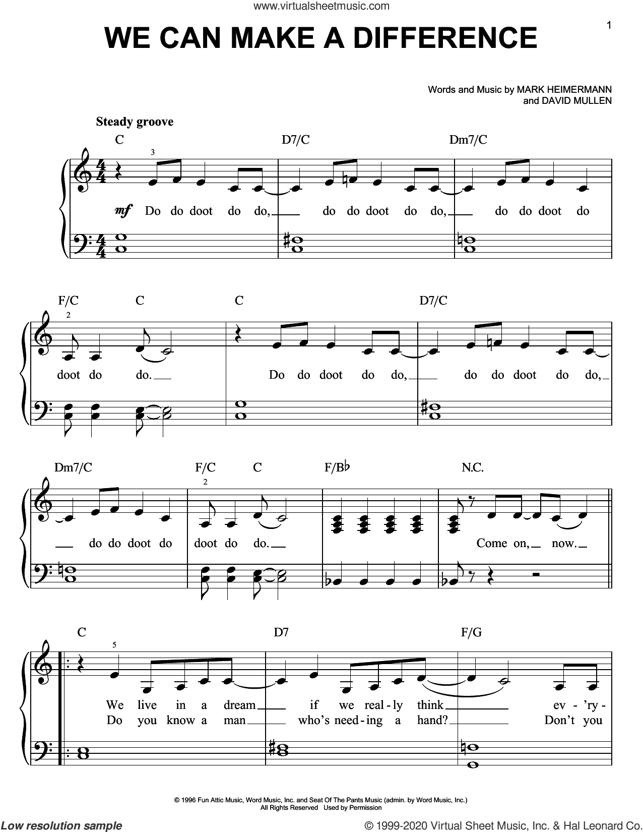 We Can Make A Difference sheet music for piano solo by Jaci Velasquez, David Mullen and Mark Heimermann, easy skill level