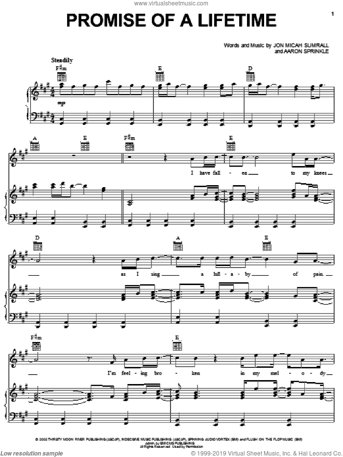Promise Of A Lifetime sheet music for voice, piano or guitar by Kutless, Aaron Sprinkle and Jon Micah Sumrall, intermediate skill level