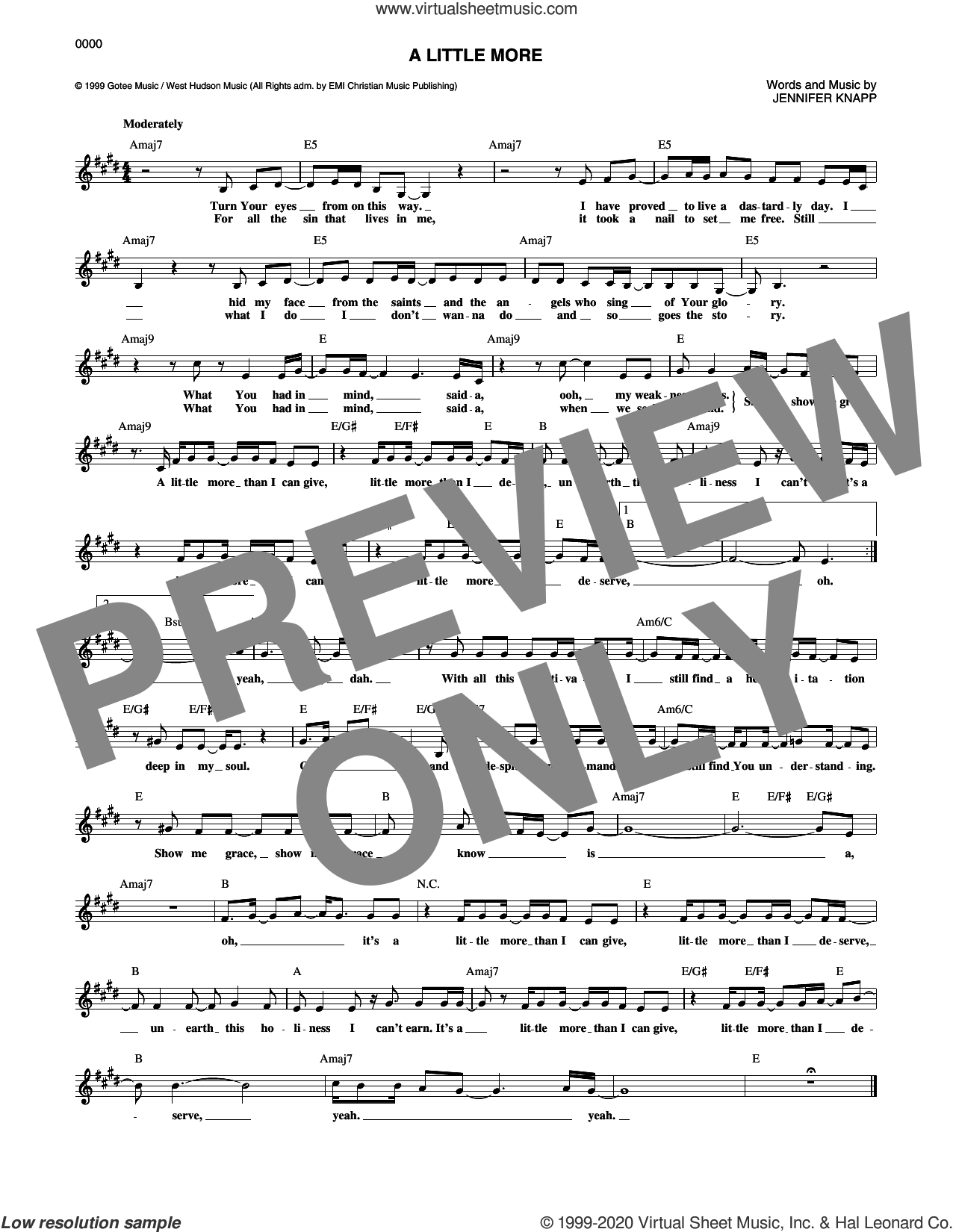 A Little More sheet music for voice and other instruments (fake book) by Jennifer Knapp, intermediate skill level