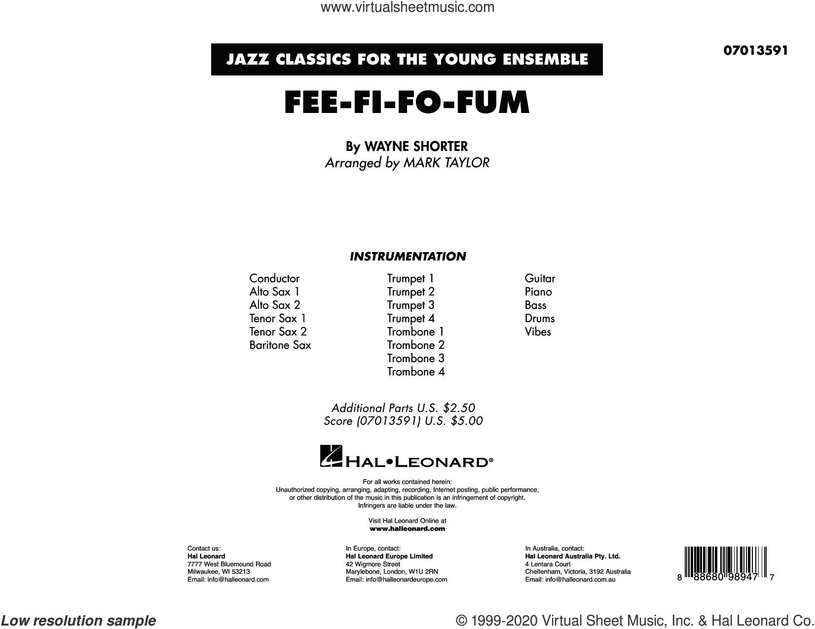 Fee-Fi-Fo-Fum (arr. Mark Taylor) (COMPLETE) sheet music for jazz band by Wayne Shorter and Mark Taylor, intermediate skill level