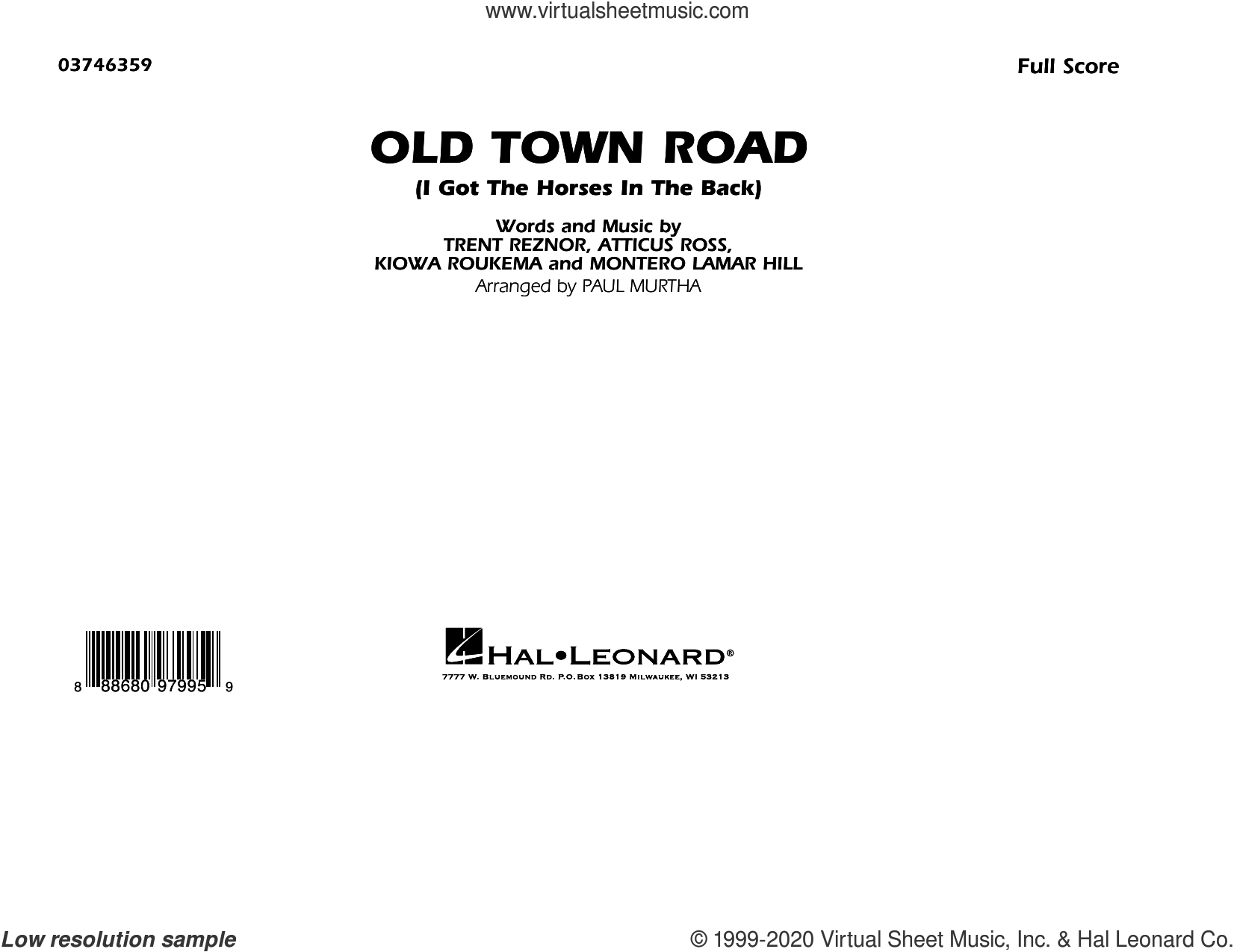 Old Town Road (arr. Paul Murtha) (COMPLETE) sheet music for marching band by Lil Nas X feat. Billy Ray Cyrus, Atticus Ross, Kiowa Roukema, Lil Nas X, Montero Lamar Hill, Paul Murtha and Trent Reznor, intermediate skill level