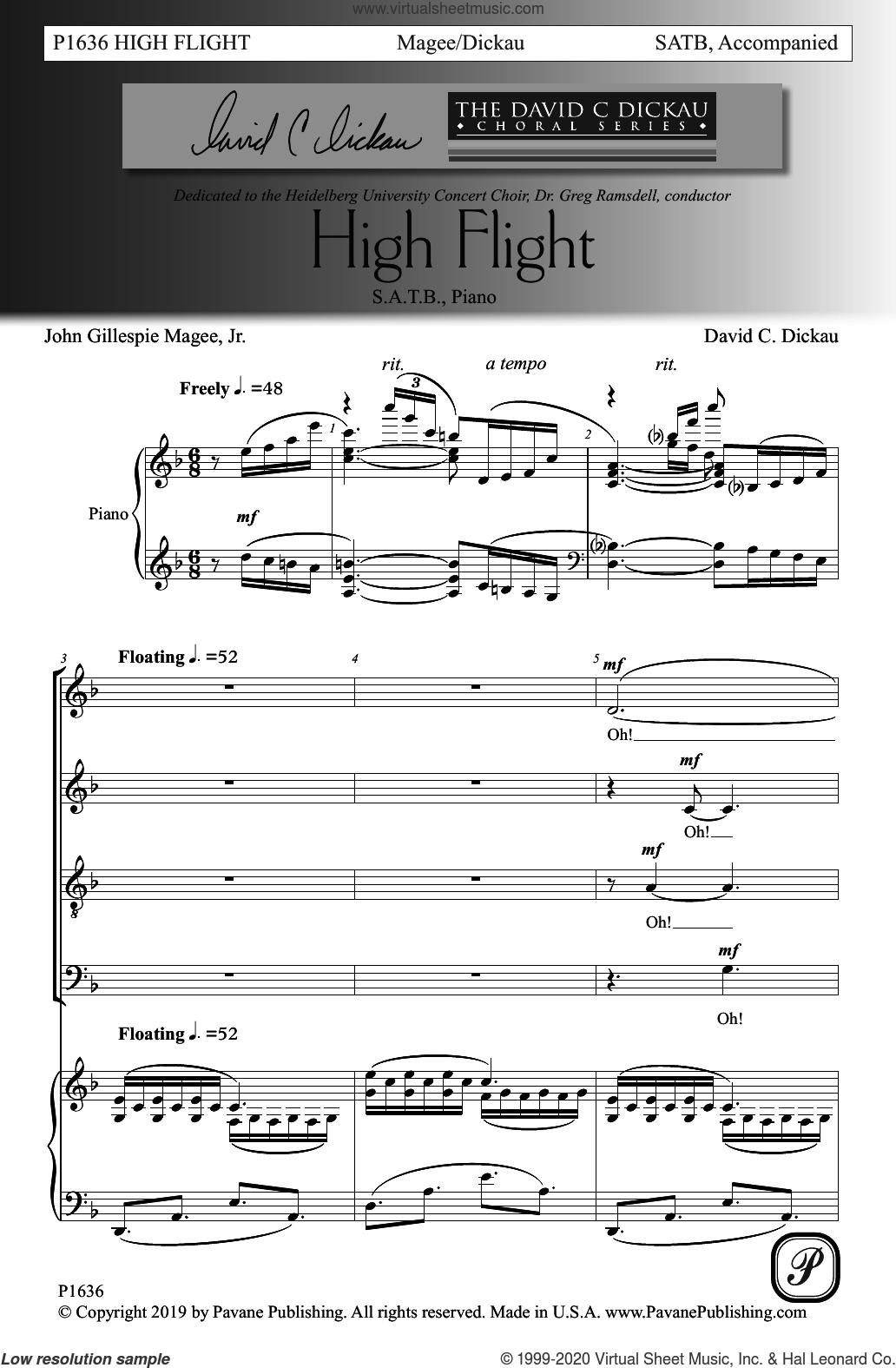 High Flight sheet music for choir (SATB: soprano, alto, tenor, bass) by David C. Dickau, John Gillespie Magee, Jr. and John Gillespie Magee, Jr. and David C. Dickau, intermediate skill level