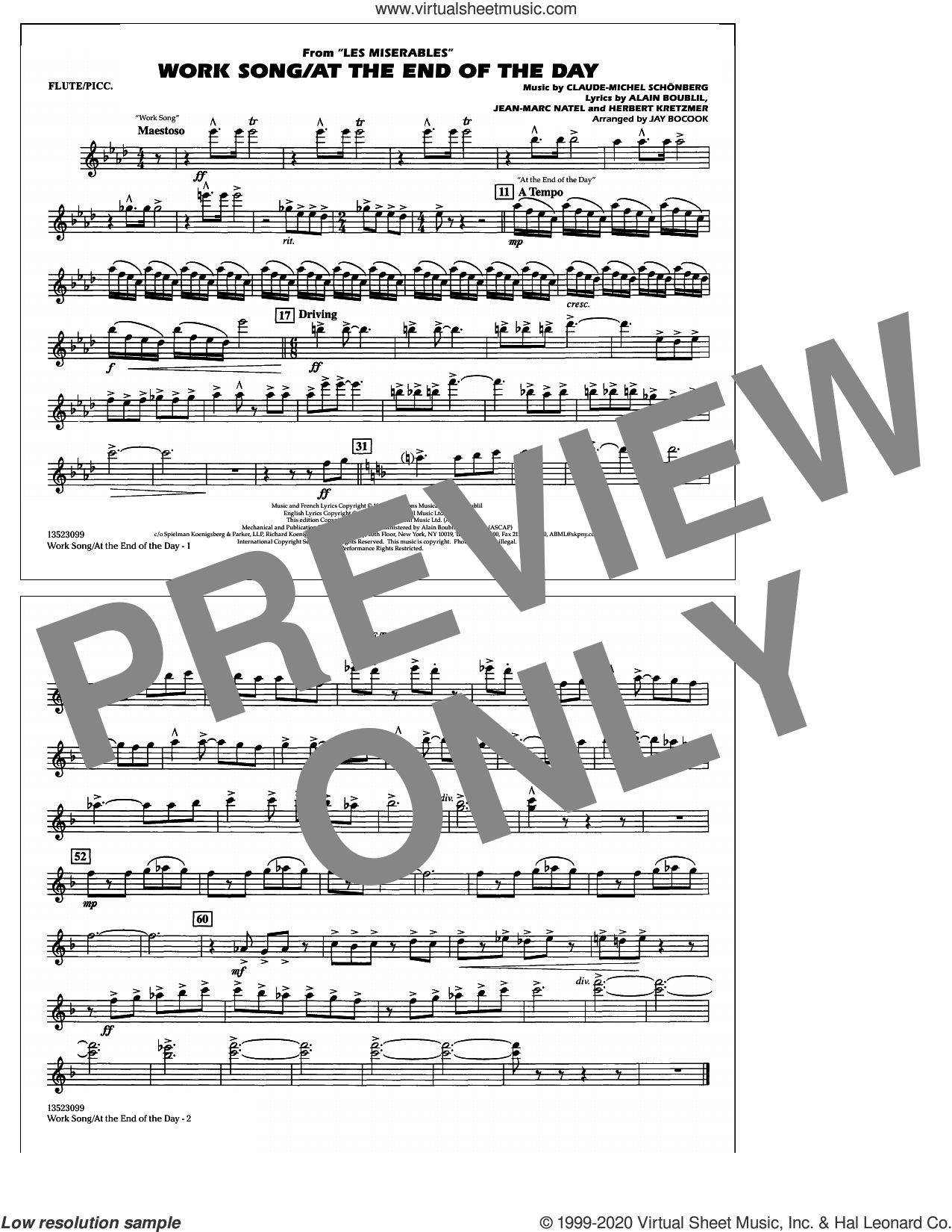 Work Song/At the End of the Day (Les Miserables) (arr. Jay Bocook) sheet music for marching band (flute/piccolo) by Claude-Michel Schonberg, Jay Bocook, Alain Boublil, Boublil & Schonberg, Herbert Kretzmer and Jean-Marc Natel, intermediate skill level