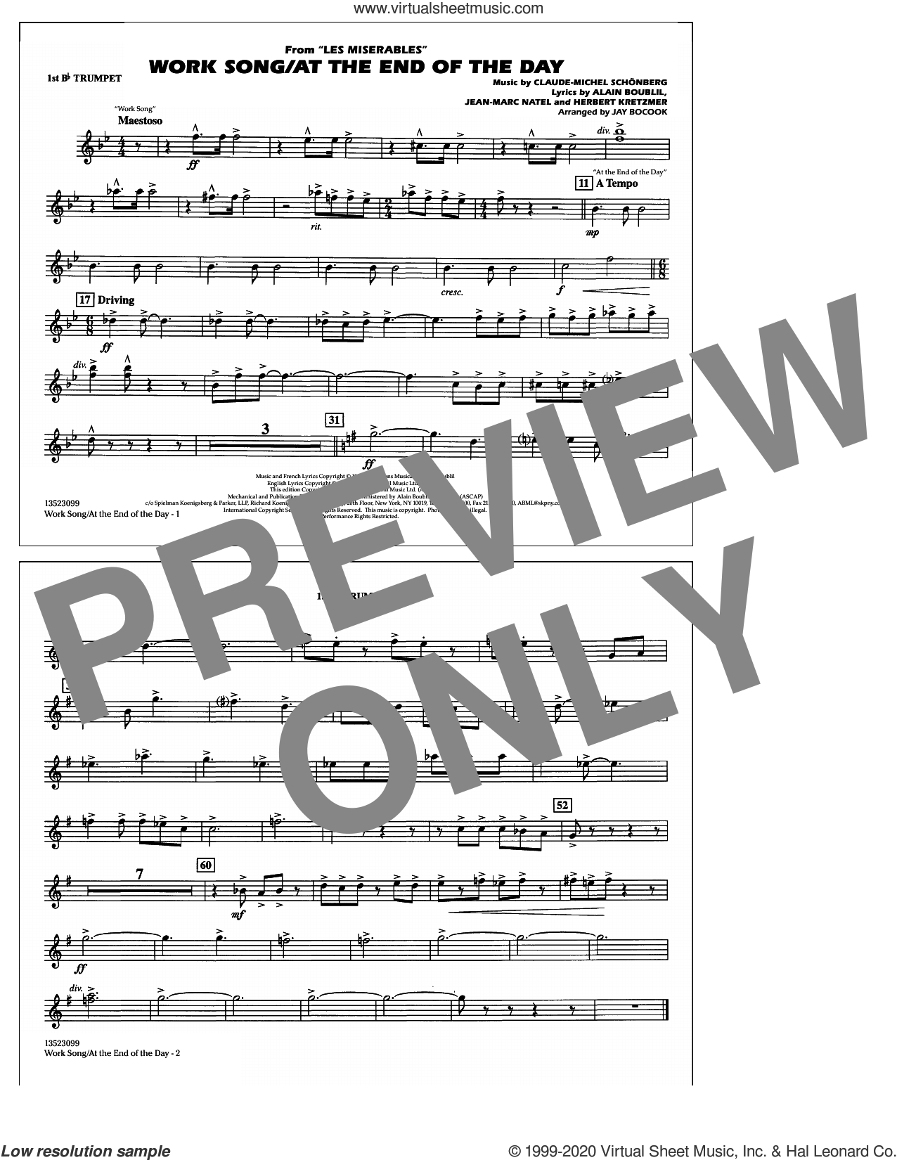 Work Song/At the End of the Day (Les Miserables) (arr. Jay Bocook) sheet music for marching band (1st Bb trumpet) by Claude-Michel Schonberg, Jay Bocook, Alain Boublil, Boublil & Schonberg, Herbert Kretzmer and Jean-Marc Natel, intermediate skill level