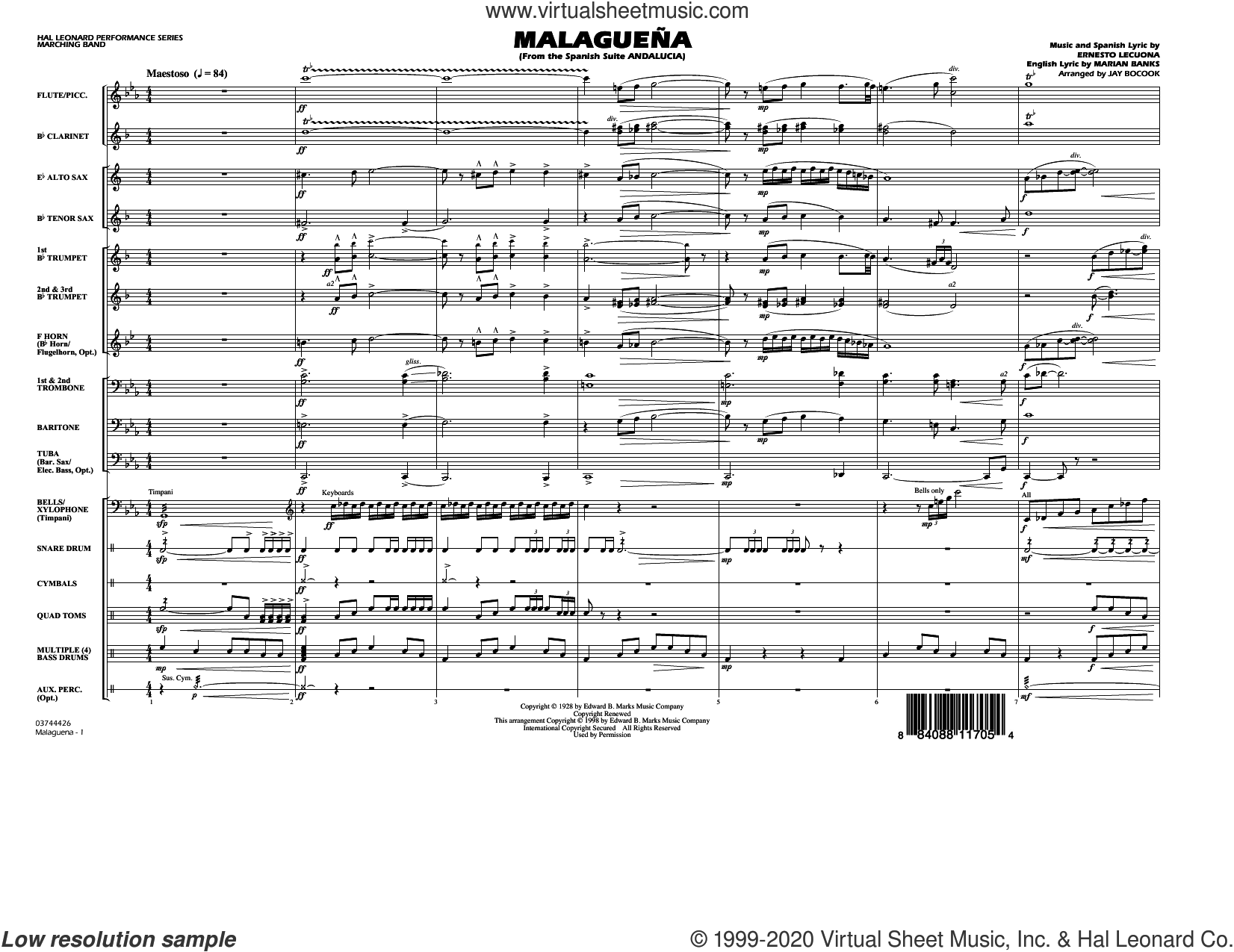 Malaguena (arr. Jay Bocook) (COMPLETE) sheet music for marching band by Ernesto Lecuona, Jay Bocook and Marian Banks, intermediate skill level