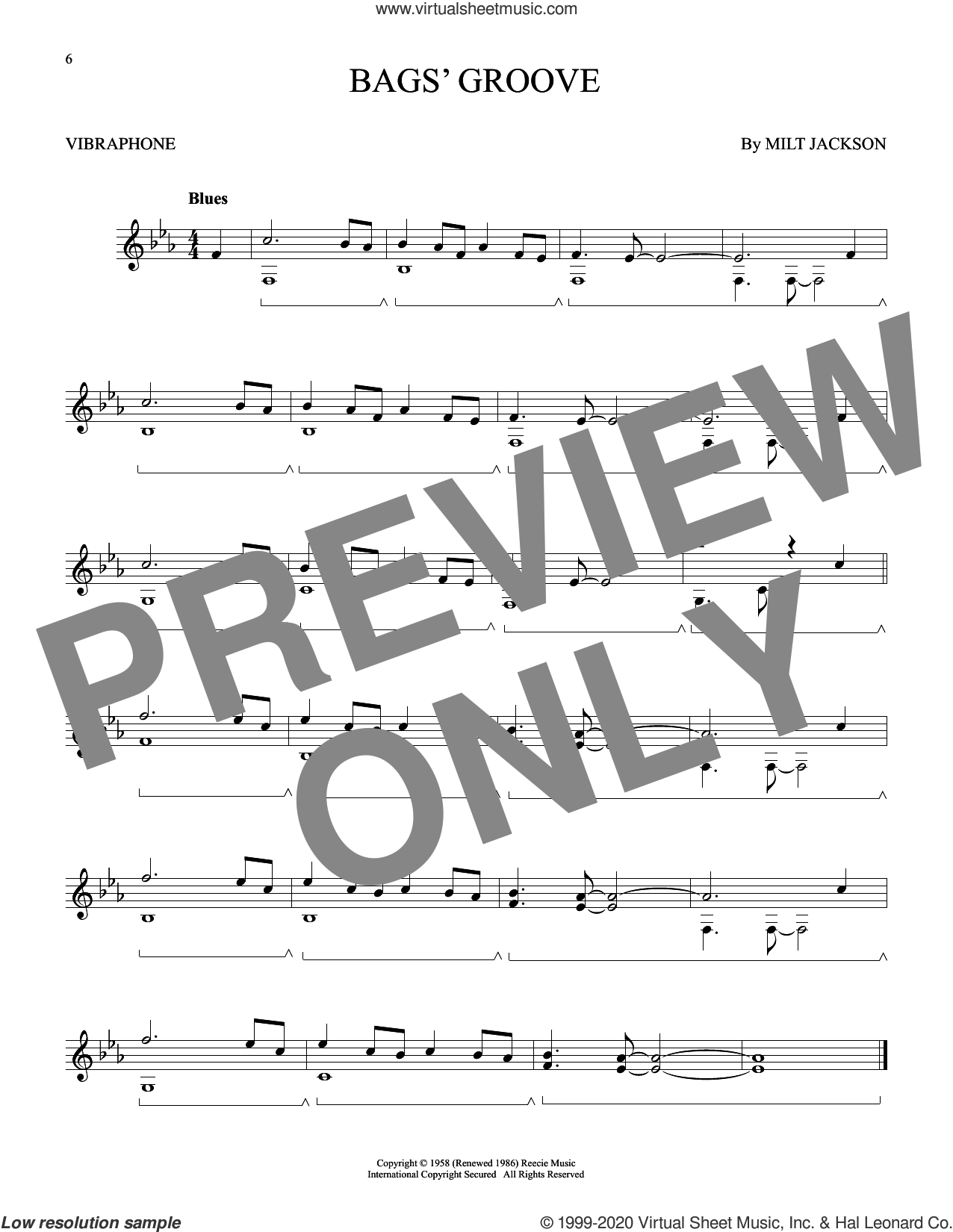 Bags' Groove sheet music for Vibraphone Solo by Milt Jackson, intermediate skill level