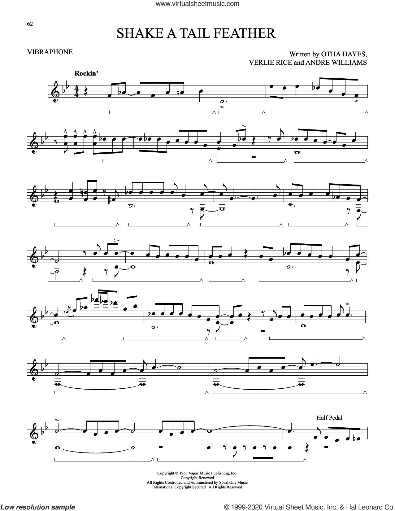 Shake A Tail Feather sheet music for Vibraphone Solo by The Five Du-Tones, Andre Williams, Otha M. Hayes and Verlie Rice, intermediate skill level