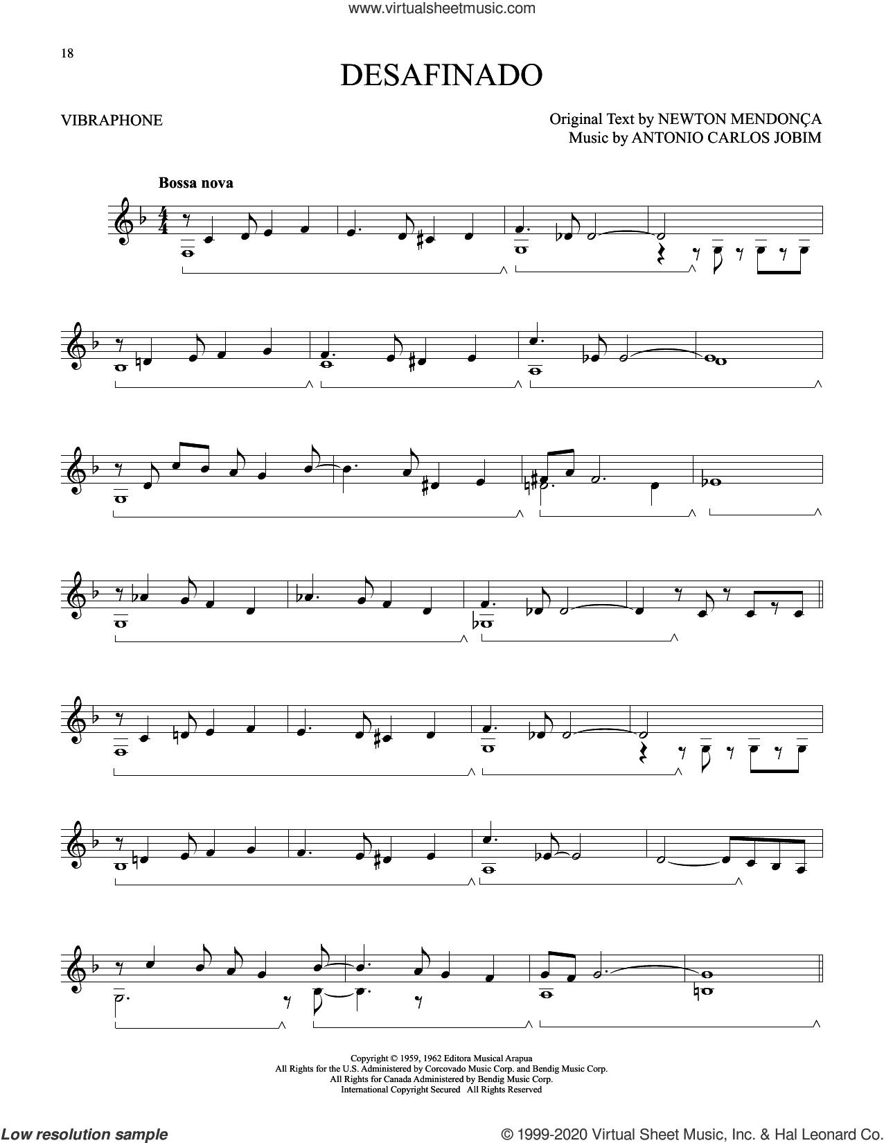 Desafinado sheet music for Vibraphone Solo by Antonio Carlos Jobim and Newton Mendonça, intermediate skill level