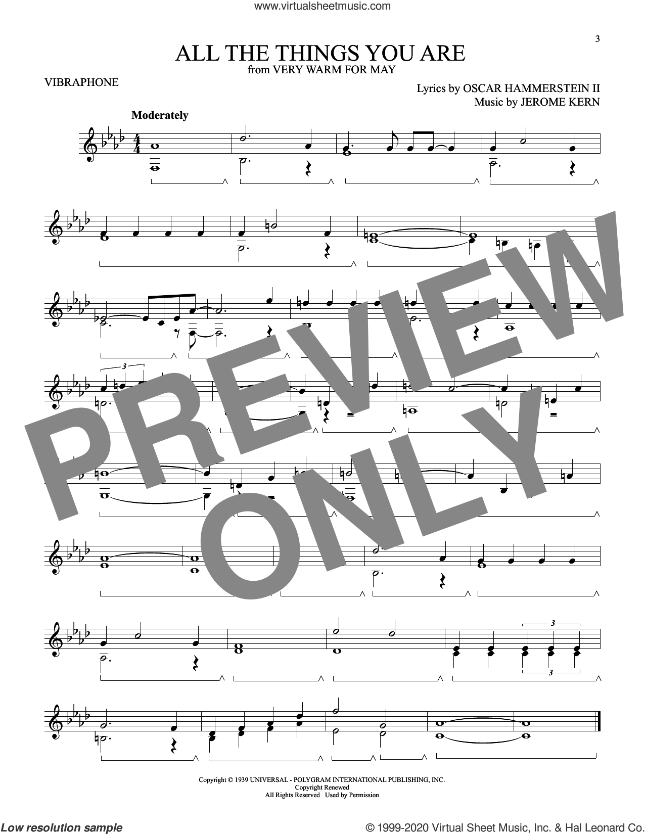All The Things You Are (from Very Warm For May) sheet music for Vibraphone Solo by Oscar II Hammerstein, Jerome Kern and Oscar Hammerstein II & Jerome Kern, intermediate skill level