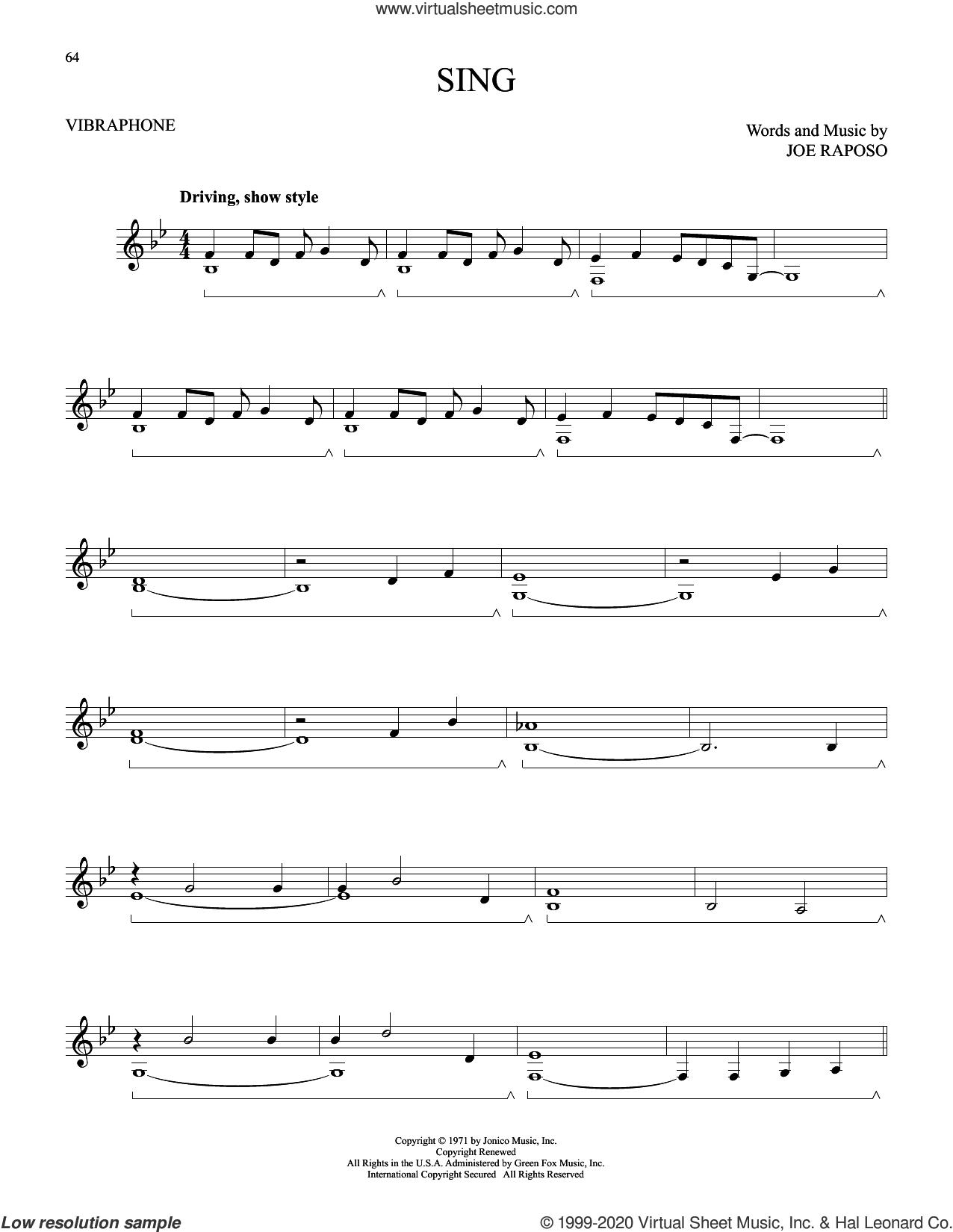Sing sheet music for Vibraphone Solo by Carpenters and Joe Raposo, intermediate skill level