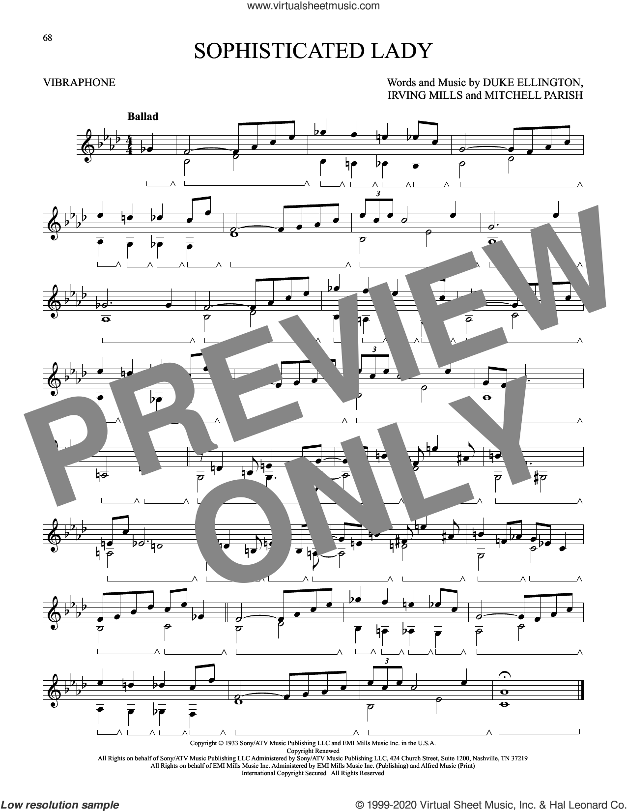 Sophisticated Lady sheet music for Vibraphone Solo by Duke Ellington, Irving Mills and Mitchell Parish, intermediate skill level