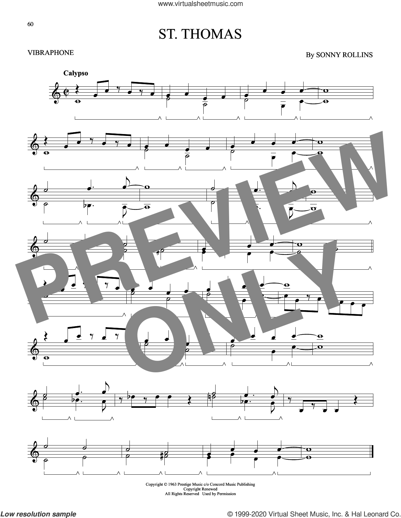 St. Thomas sheet music for Vibraphone Solo by Sonny Rollins, intermediate skill level