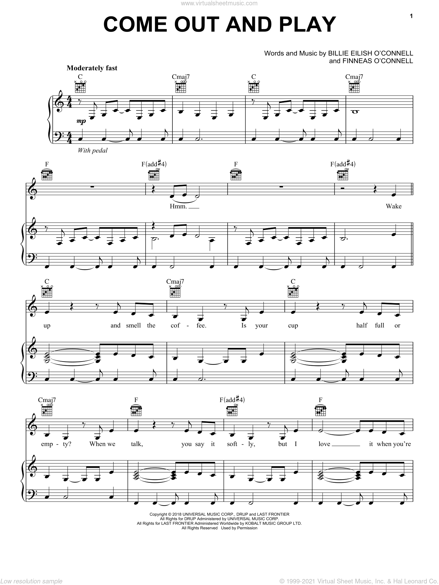 come out and play sheet music for voice, piano or guitar by Billie Eilish, intermediate skill level