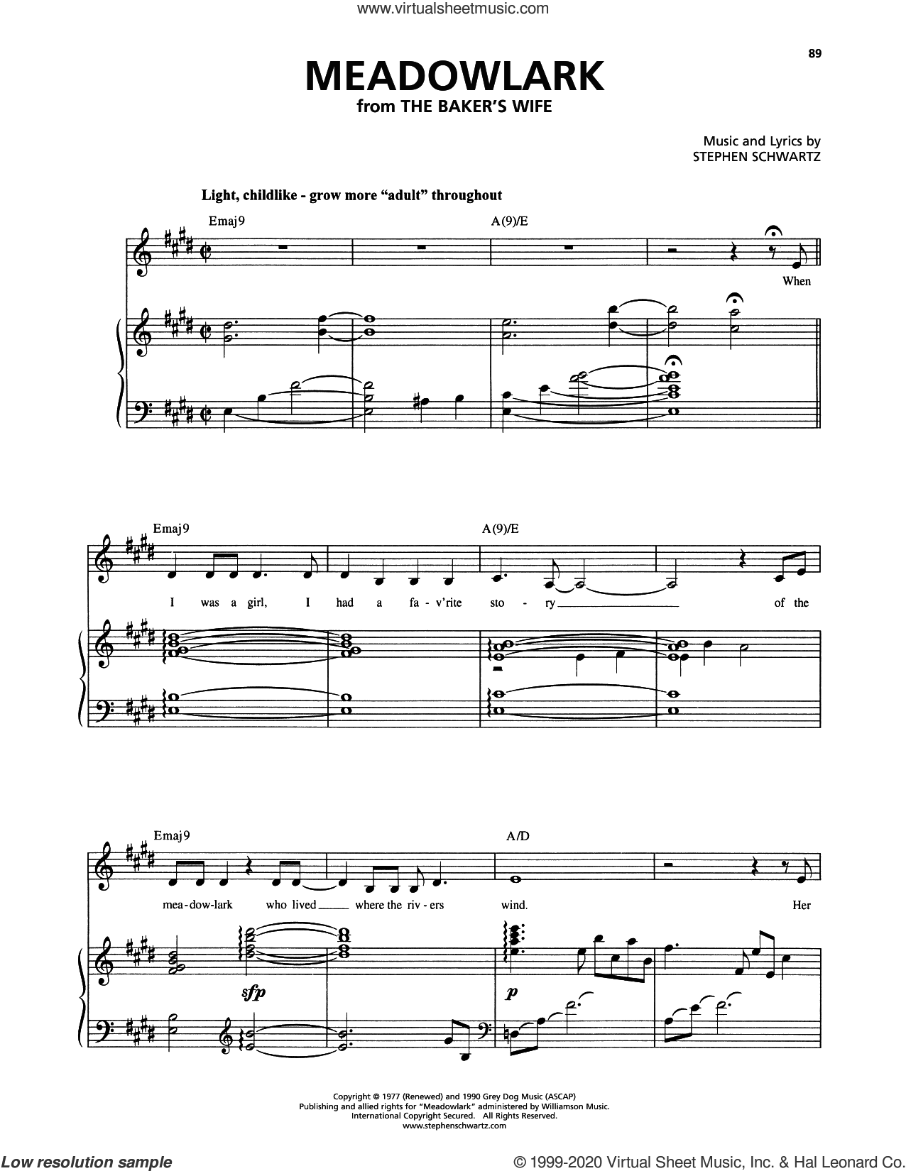 Meadowlark (from The Baker's Wife) sheet music for voice and piano by Stephen Schwartz, intermediate skill level