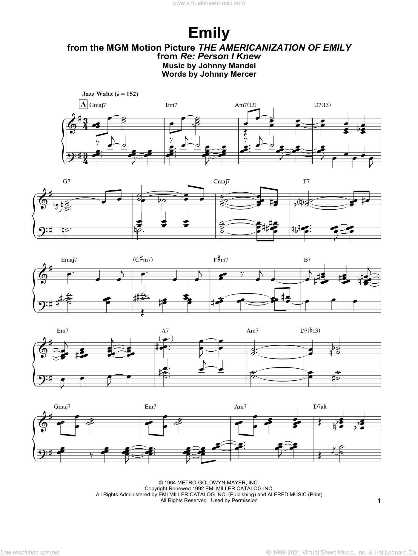 Emily (from The Americanization of Emily) sheet music for piano solo by Bill Evans, Johnny Mandel and Johnny Mercer, intermediate skill level