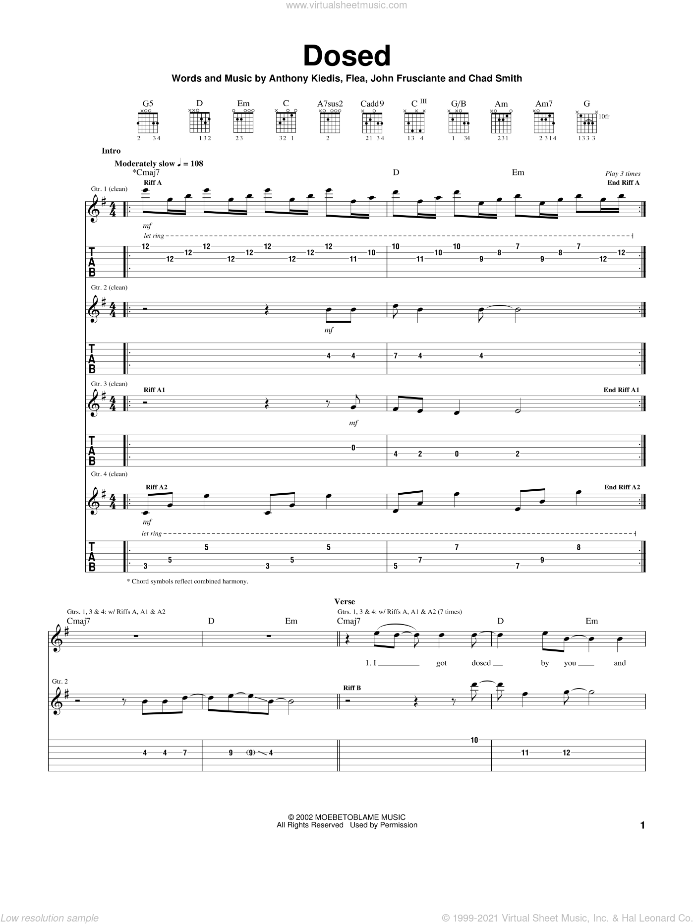 Dosed sheet music for guitar (tablature) by Red Hot Chili Peppers, Anthony Kiedis, Flea and John Frusciante, intermediate skill level