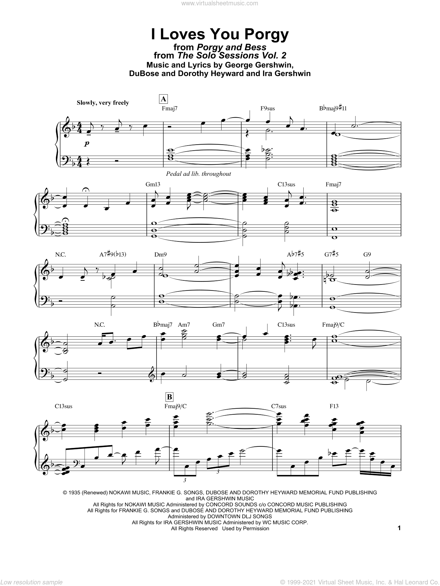 I Loves You, Porgy (from Porgy and Bess) sheet music for piano solo by Bill Evans, Dorothy Heyward, DuBose Heyward, George Gershwin and Ira Gershwin, intermediate skill level