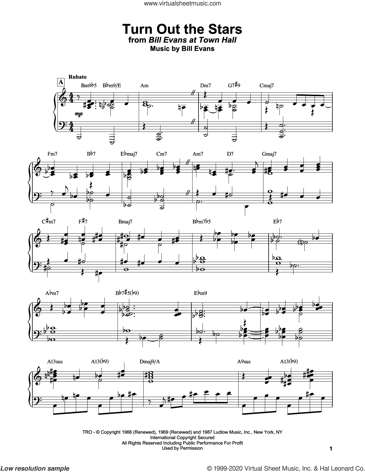 Turn Out The Stars sheet music for piano solo by Bill Evans, intermediate skill level