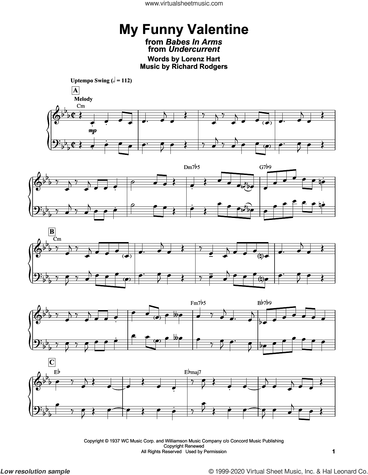 My Funny Valentine (from Babes In Arms) sheet music for piano solo by Bill Evans, Lorenz Hart and Richard Rodgers, intermediate skill level