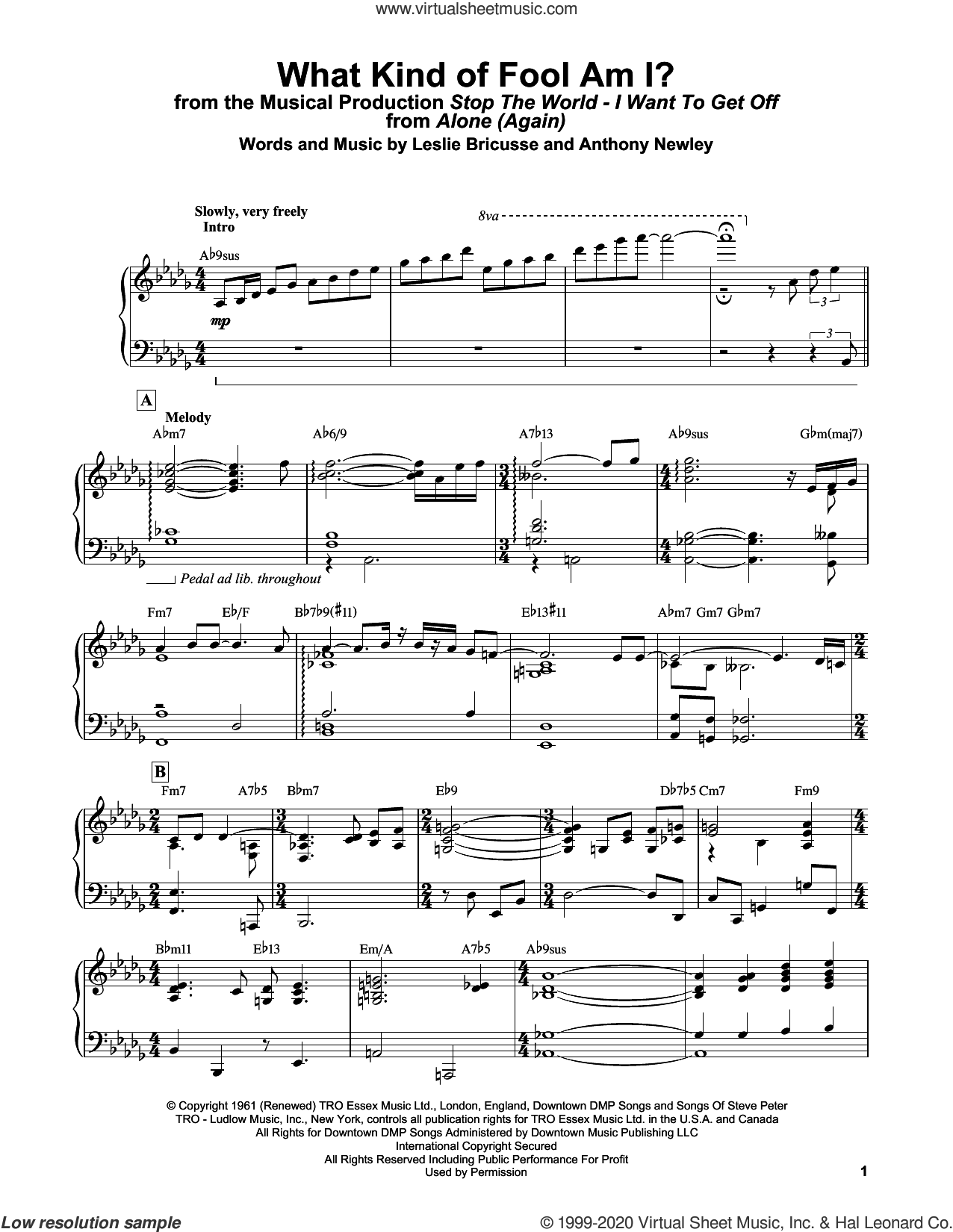 What Kind Of Fool Am I? (from Stop The World - I Want To Get Off) sheet music for piano solo by Bill Evans, Anthony Newley and Leslie Bricusse, intermediate skill level