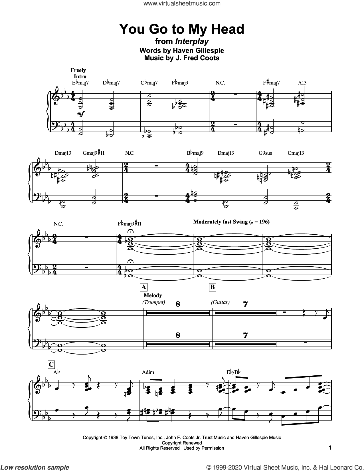 You Go To My Head sheet music for piano solo by Bill Evans, Haven Gillespie and J. Fred Coots, intermediate skill level