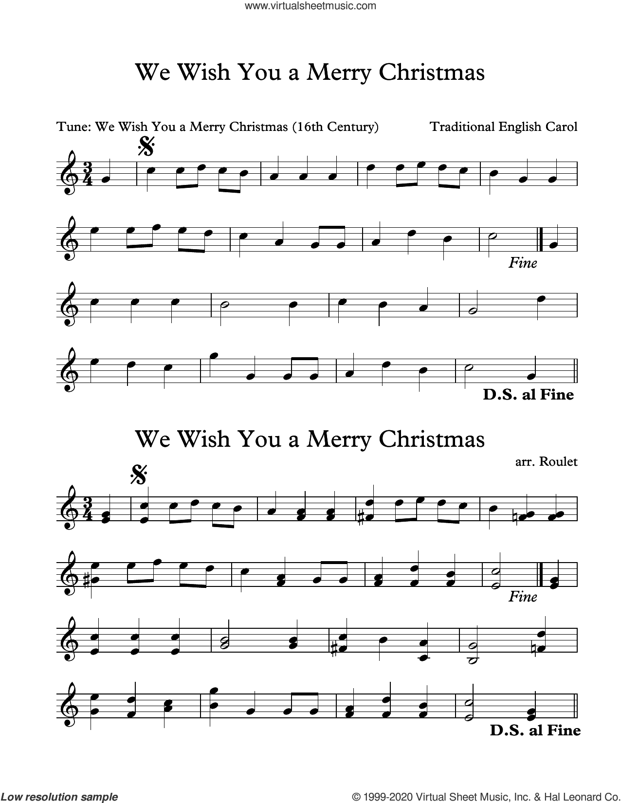 We Wish You A Merry Christmas (arr. Patrick Roulet) sheet music for Marimba Solo  and Patrick Roulet, intermediate skill level