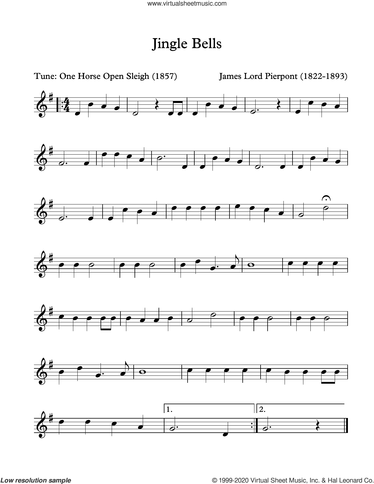 Jingle Bells (arr. Patrick Roulet) sheet music for Marimba Solo by James Pierpont and Patrick Roulet, intermediate skill level