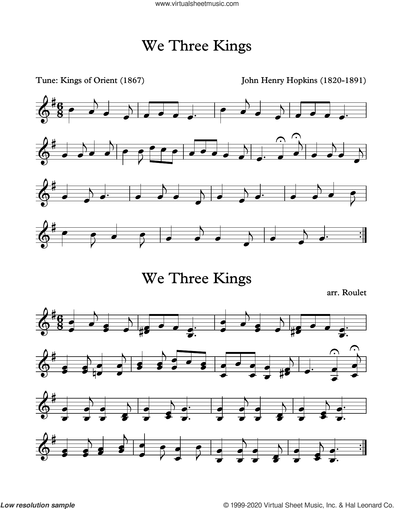 We Three Kings (arr. Patrick Roulet) sheet music for Marimba Solo by John H. Hopkins and Patrick Roulet, intermediate skill level