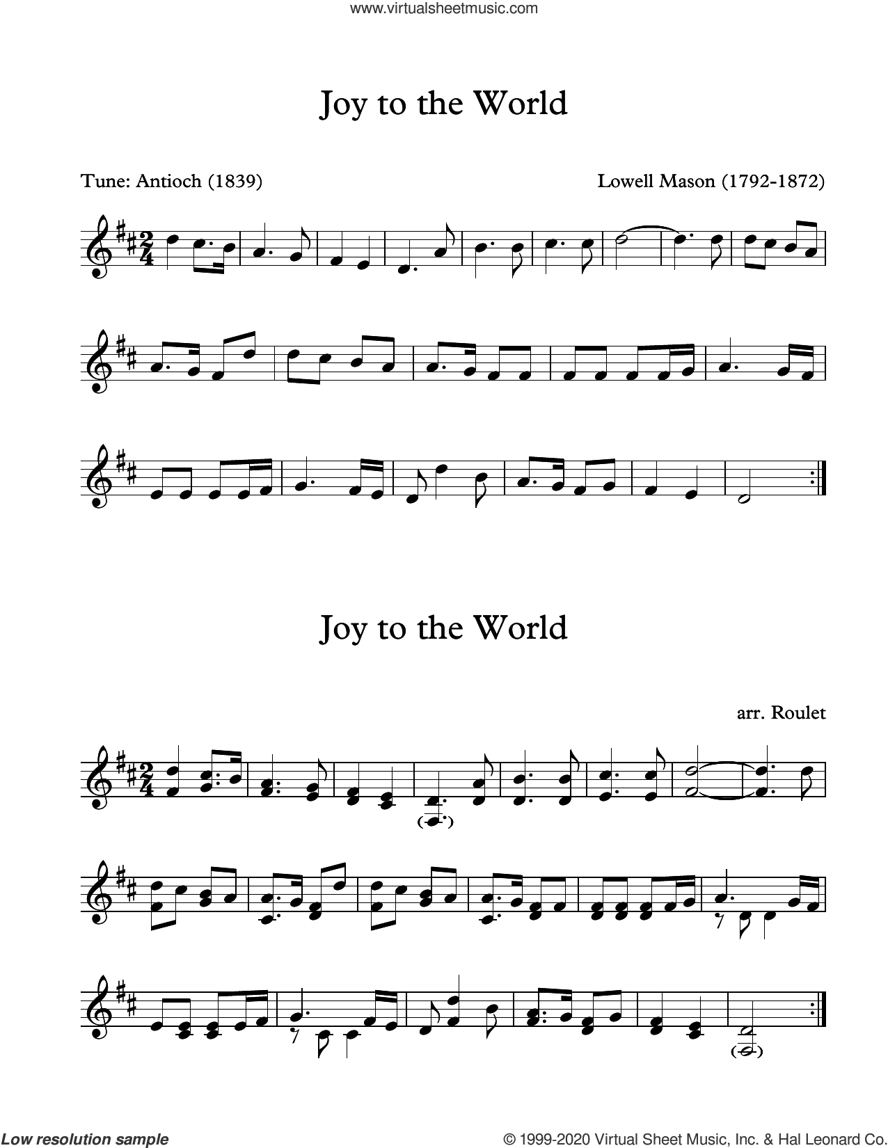 Joy To The World (arr. Patrick Roulet) sheet music for Marimba Solo by Lowell Mason and Patrick Roulet, intermediate skill level