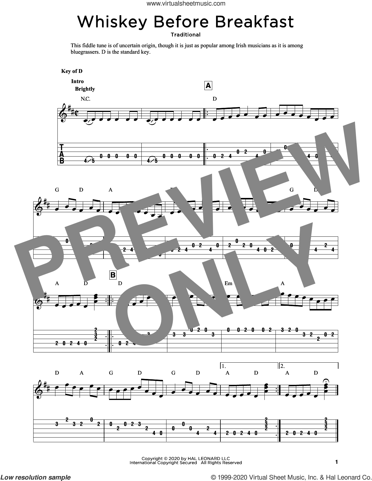Whiskey Before Breakfast (arr. Fred Sokolow) sheet music for guitar solo  and Fred Sokolow, intermediate skill level