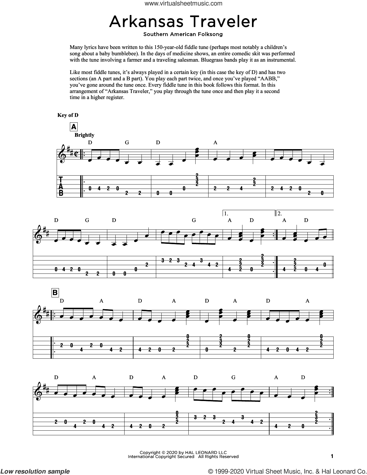 Arkansas Traveler (arr. Fred Sokolow) sheet music for guitar solo  and Fred Sokolow, intermediate skill level