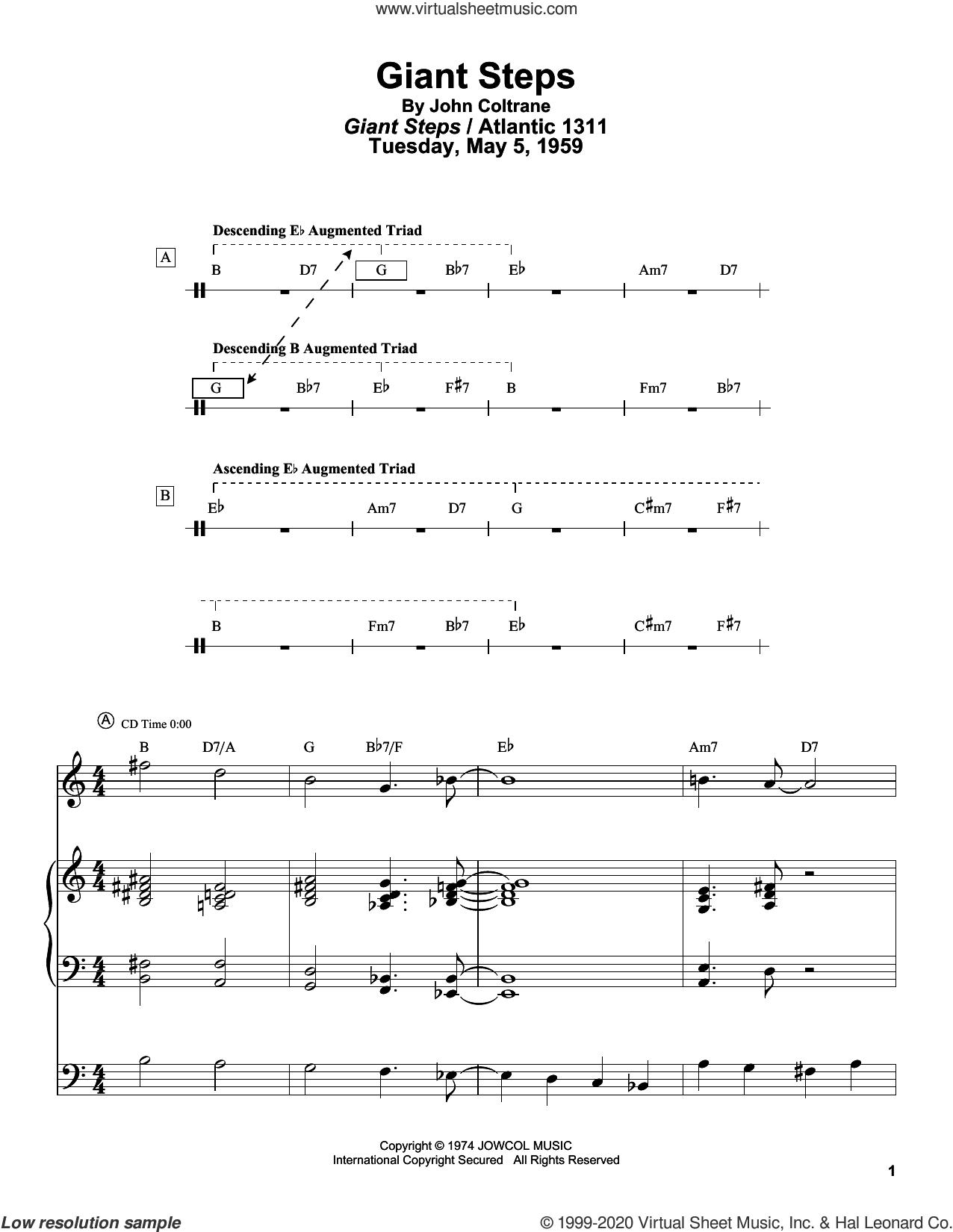 Giant Steps sheet music for tenor saxophone solo (transcription) by John Coltrane and Masaya Yamaguchi, intermediate tenor saxophone (transcription)