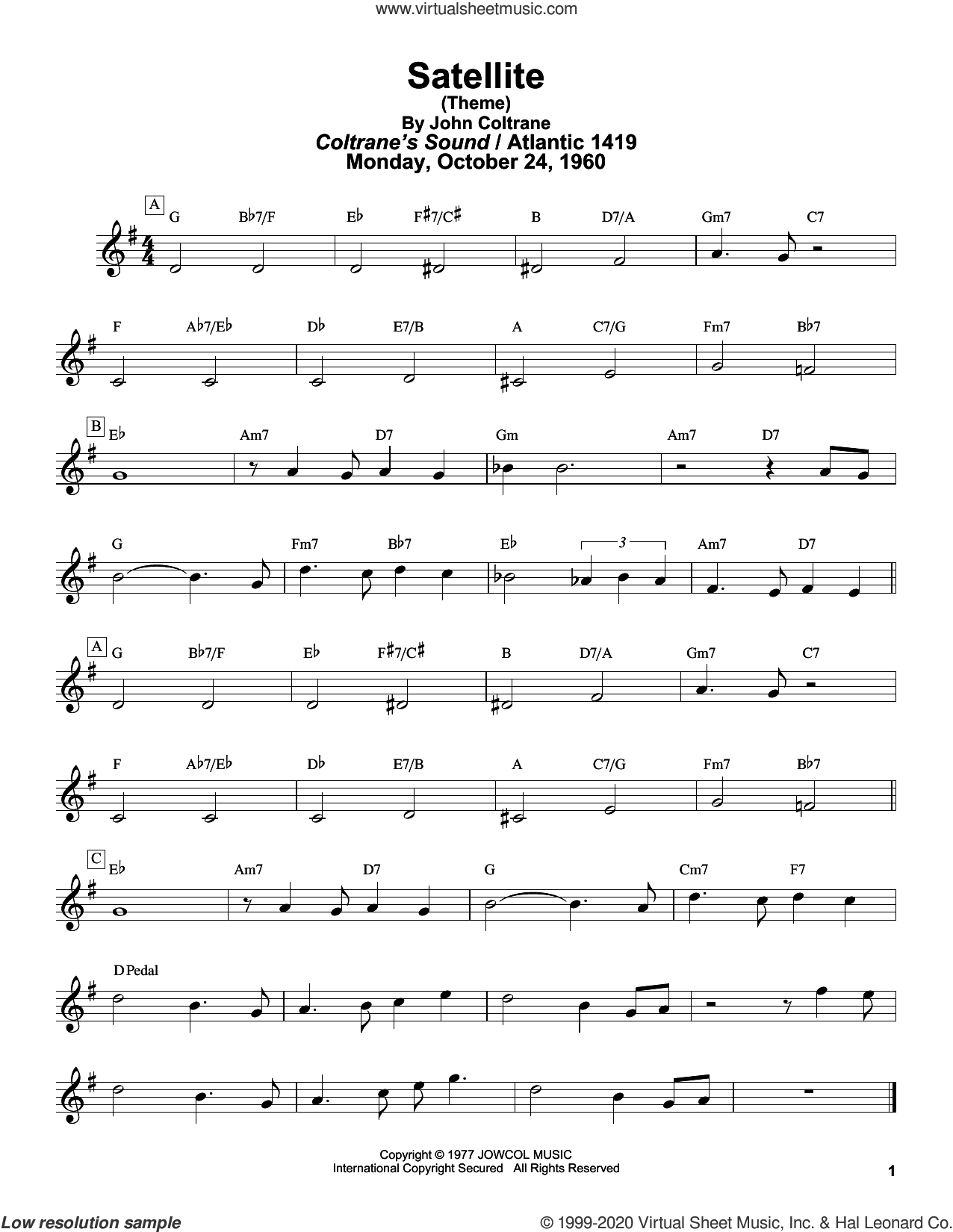 Satellite sheet music for tenor saxophone solo (transcription) by John Coltrane and Masaya Yamaguchi, intermediate tenor saxophone (transcription)
