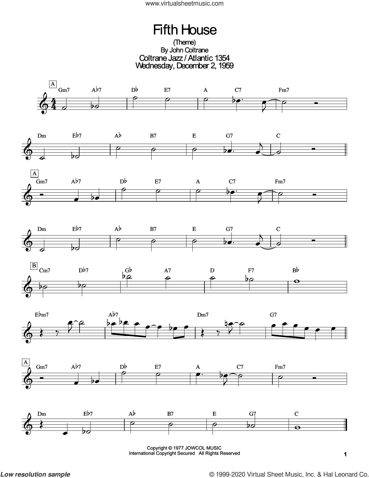 Fifth House sheet music for tenor saxophone solo (transcription) by John Coltrane and Masaya Yamaguchi, intermediate tenor saxophone (transcription)