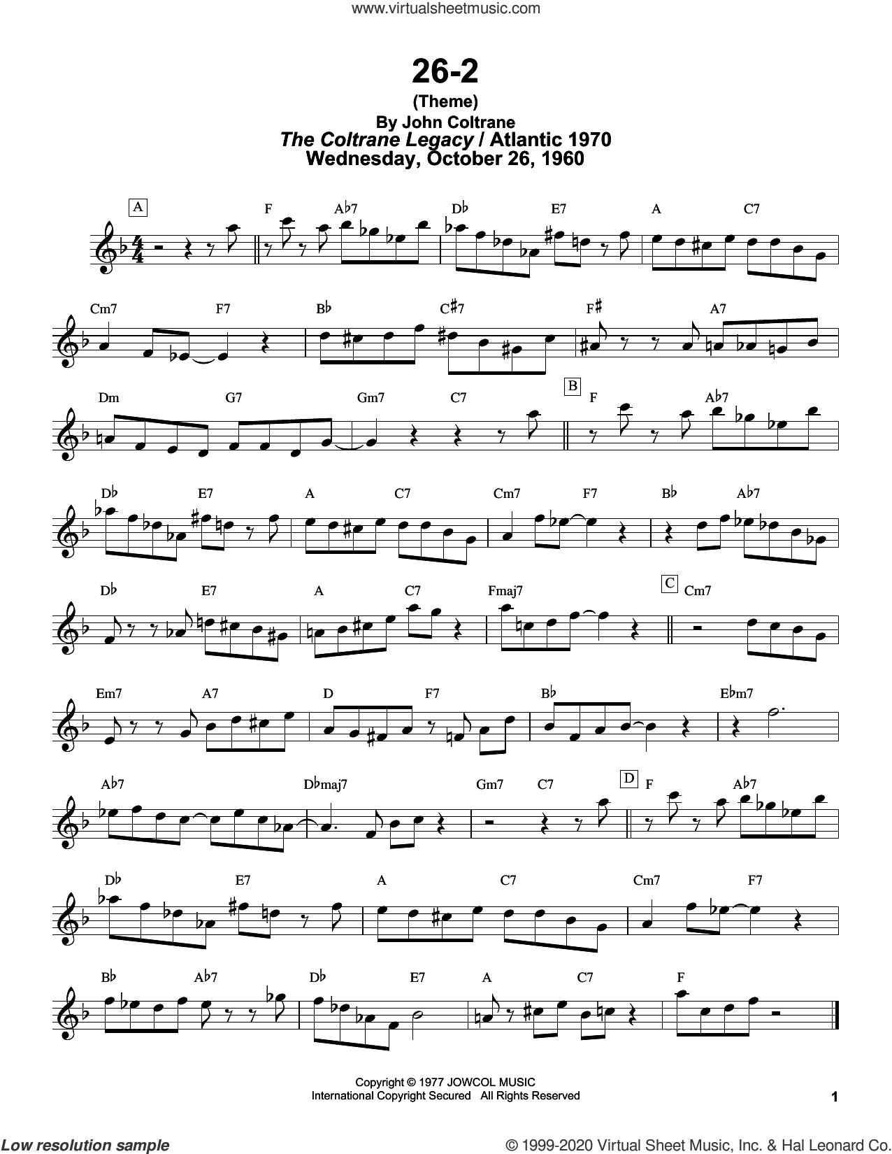 26-2 sheet music for tenor saxophone solo (transcription) by John Coltrane and Masaya Yamaguchi, intermediate tenor saxophone (transcription)