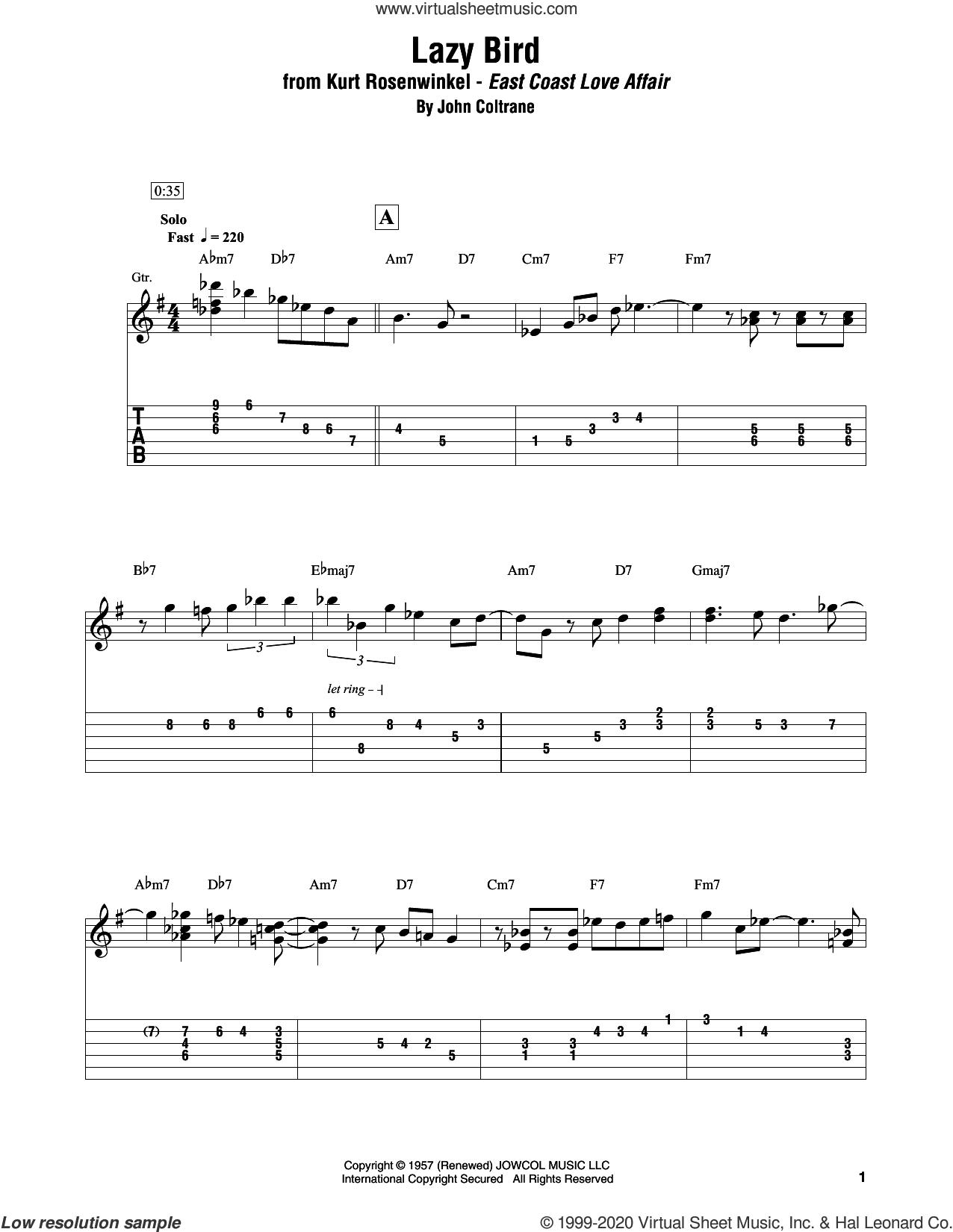 Lazy Bird sheet music for electric guitar (transcription) by Kurt Rosenwinkel and John Coltrane, intermediate skill level
