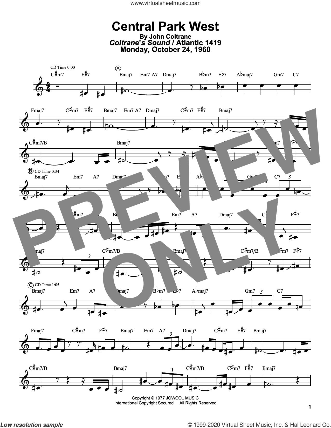 Central Park West sheet music for tenor saxophone solo (transcription) by John Coltrane and Masaya Yamaguchi, intermediate tenor saxophone (transcription)