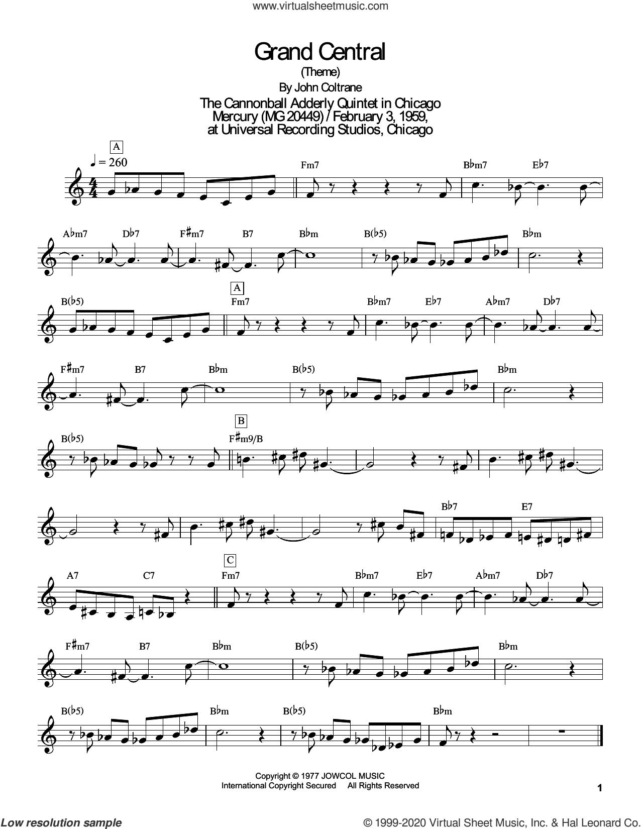 Grand Central sheet music for tenor saxophone solo (transcription) by John Coltrane and Masaya Yamaguchi, intermediate tenor saxophone (transcription)