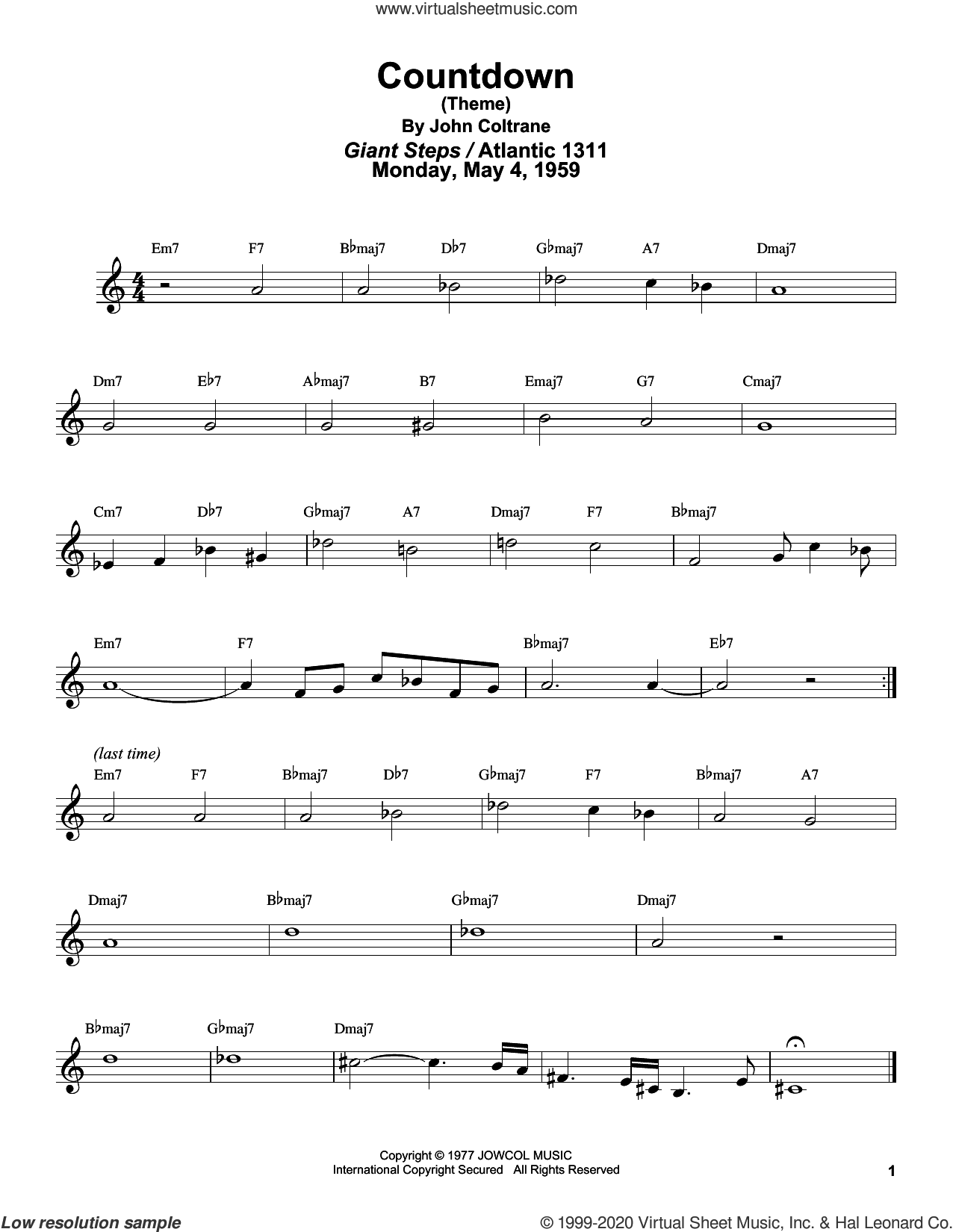 Countdown sheet music for tenor saxophone solo (transcription) by John Coltrane and Masaya Yamaguchi, intermediate tenor saxophone (transcription)