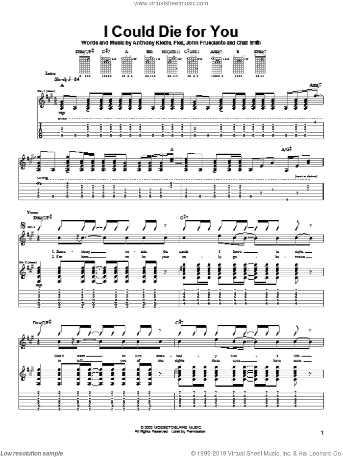 I Could Die For You sheet music for guitar (tablature) by Red Hot Chili Peppers, intermediate guitar (tablature). Score Image Preview.