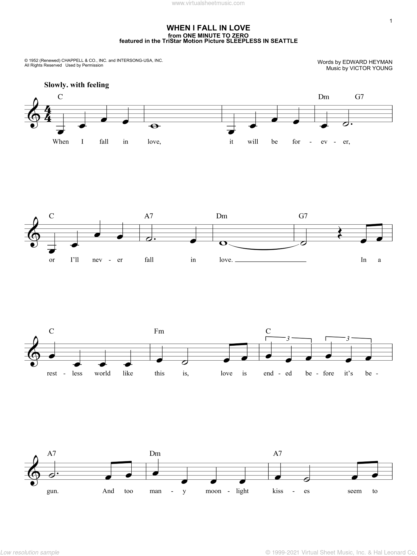 When I Fall In Love sheet music for voice and other instruments (fake book) by Nat King Cole, Edward Heyman and Victor Young, intermediate skill level