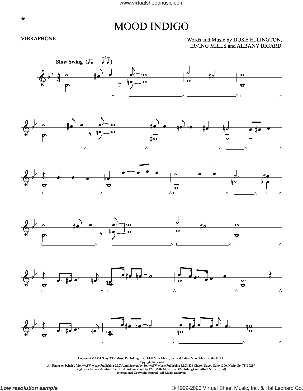 Mood Indigo sheet music for Vibraphone Solo by Duke Ellington, Albany Bigard and Irving Mills, intermediate skill level