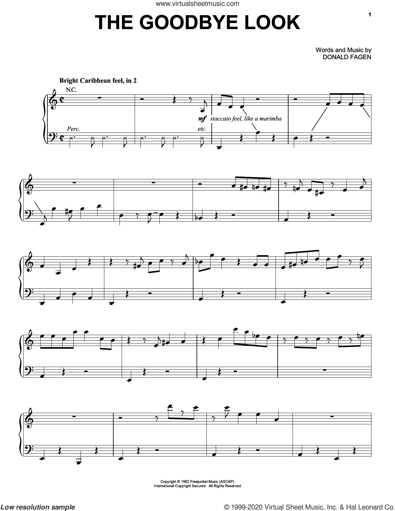 The Goodbye Look sheet music for voice, piano or guitar by Donald Fagen, intermediate skill level
