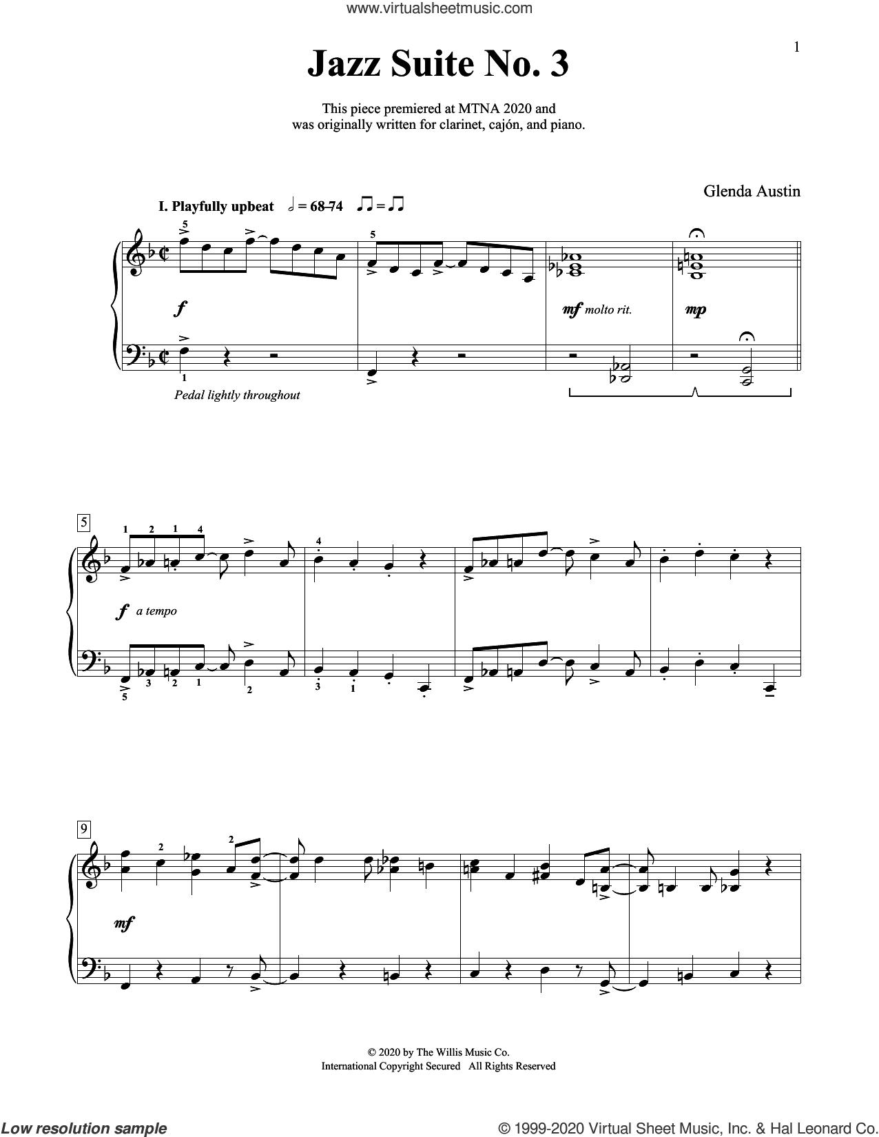 Jazz Suite No. 3 sheet music for piano solo (elementary) by Glenda Austin, beginner piano (elementary)